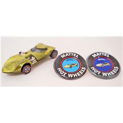 VINTAGE HOT WHEELS RED LINE TWIN MILL LIME W/ TWO BADGES