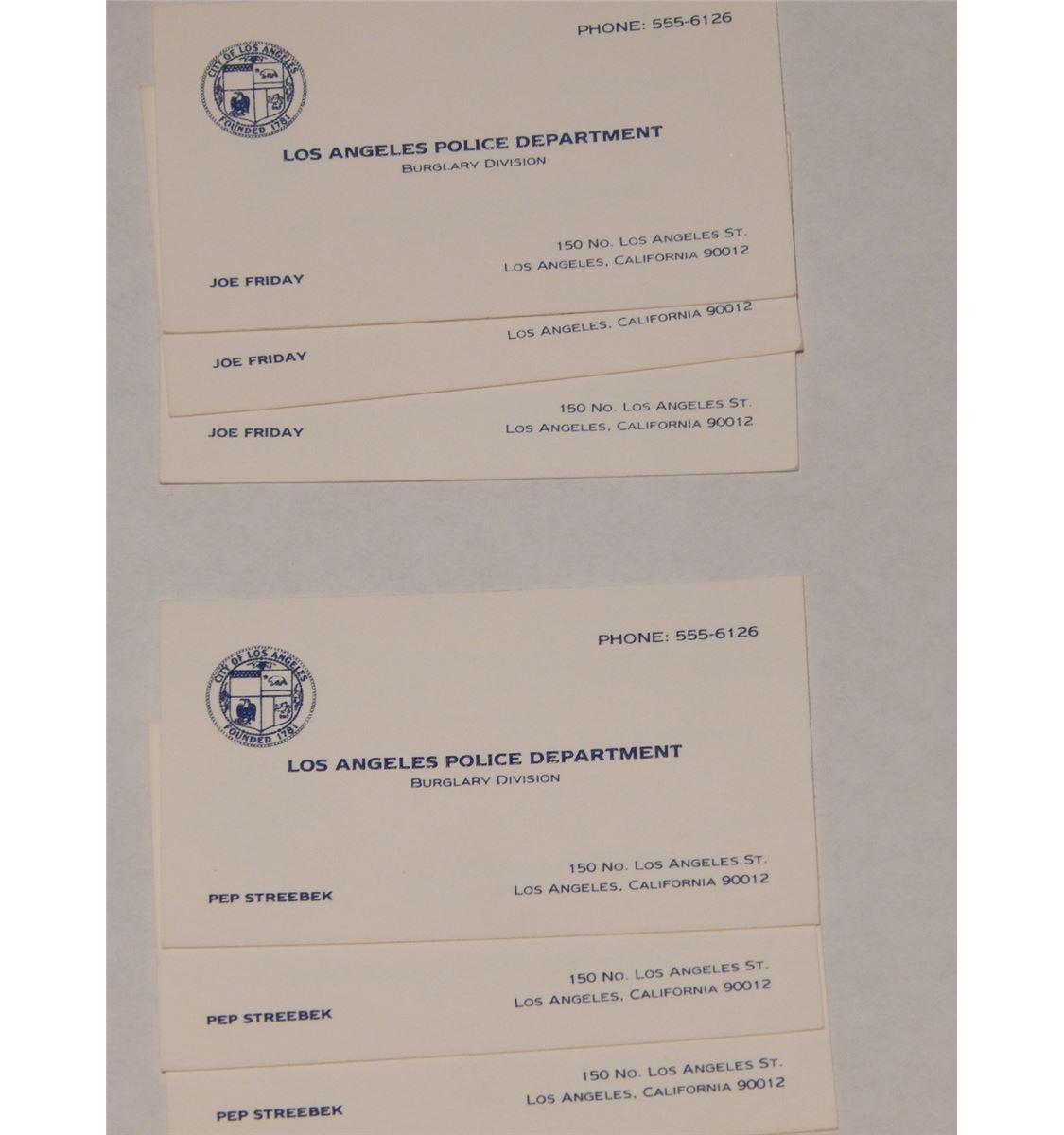 Los angeles police department business cards gallery card design lot of 6 screen used dragnet prop business cards reheart gallery magicingreecefo Choice Image