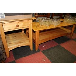 Solid pine wood coffee table side table set for Real wood coffee table sets