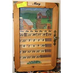 Perpetual wooden wall calendar in shadowbox - Wooden perpetual wall calendar ...