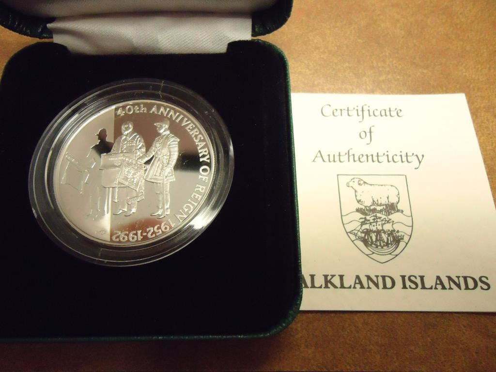 1992 Falkland Islands Silver Proof 50 Pence 40th