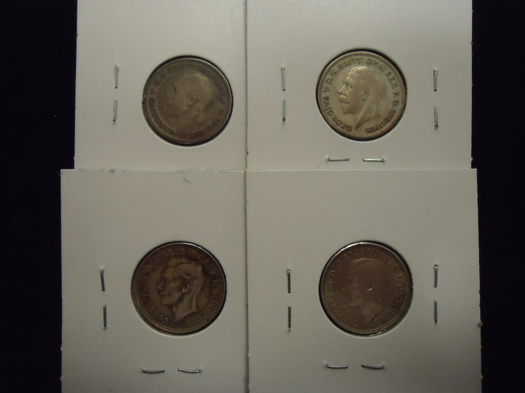 4 Foreign Silver Coins See Description 1931 Amp 1933 Great