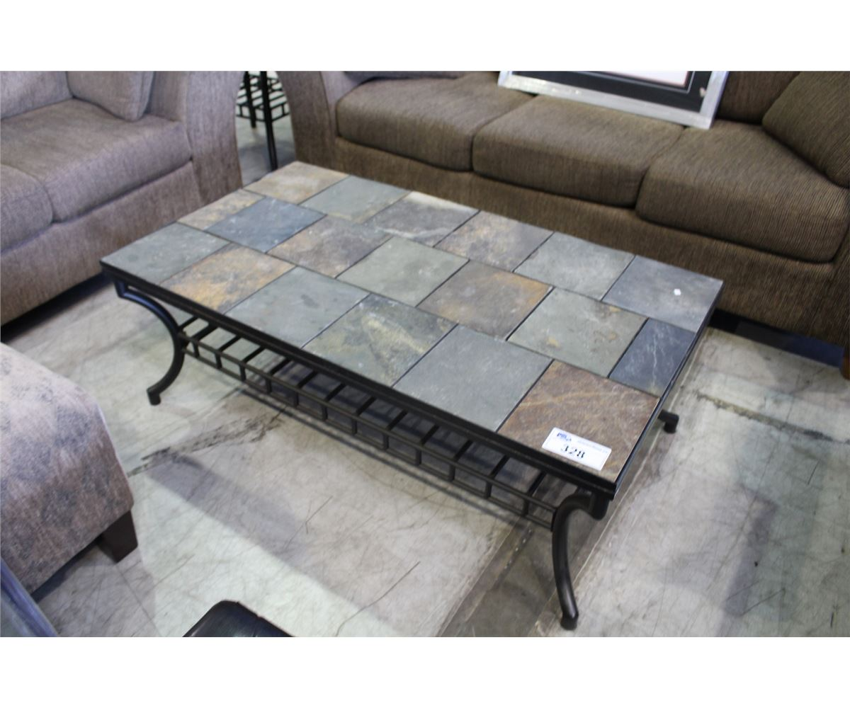 Rustic Grey Coffee Table With Stone Top Furniture La Rustic Outdoor