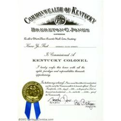 Julius Schwartz Kentucky Colonel Certificate (1994). An award given for meritorious service by the G