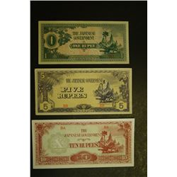 Burma - Occupied Japan WWII Banknote Set