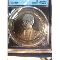 Medal; 1975 Silver, 75th Anniversary of Caisse Populaire Desjardins, CCCS PF 67; Ultra Heavy Cameo.