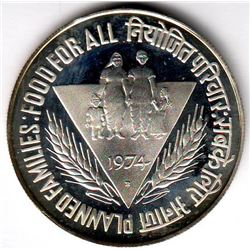 India; 50 Rupees 1975 PF-65 UHC, Food For All, Planned Families.