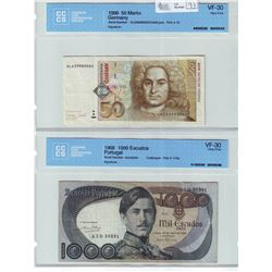 Germany; 50 Marks note CCCS, VF-30, Pick # 45, Serial Number: DL6399890D0. Portugal, 1000 Escudos no