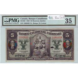 Banque Canadienne Nationale, 85-12-02, 1929, $5.00 note, Beique Leman, serial 1202039, PMG VF-35.