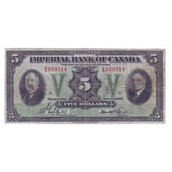 Imperial Bank of Commerce, 375-24-02, 1939, $5.00 note, Jaffray Phipps, serial E055714, PMG VF-30.