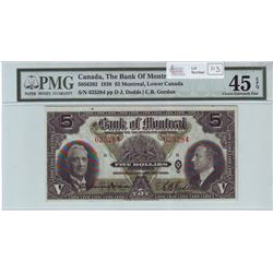 The Bank of Montreal, 505-62-02, 1938, $5.00 note, Dodds Gordon, serial 625284, PMG EF-45 EPQ.