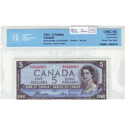Bank of Canada; $5.00 Devil's Face note 1954, BC-31a, serial B/C0444963, CCCS UNC-60.