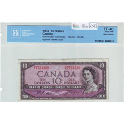 Bank of Canada; $10.00 Devil's Face note 1954, BC-32b, serial I/D7721320, CCCS EF-40.