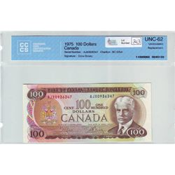 Bank of Canada; $100.00 Replacement note 1975, BC-52bA, serial AJX0936347, CCCS UNC-62.