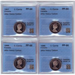 5 cents 1986, 1987, 1988 & 1989 all CCCS PF-68; Ultra Heavy Cameo. Lot of 4 coins.