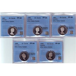 25 cents 1981, 1986, 1987, 1989 & 1990 all CCCS PF-68; Ultra Heavy Cameo except the 1989 that is PF-