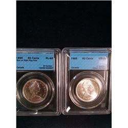 50 cents 1965 CCCS MS-65 & 50 cents 1965 CCCS PL-65; Spur on Right Flag Pole. Lot of 2 coins.