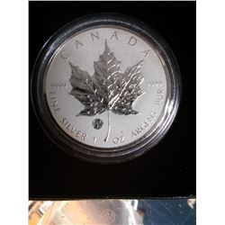 5 dollars 2011 Silver Maple Leaf 1 oz .9999 Fabulous 15 Privy mark in case and capsule.