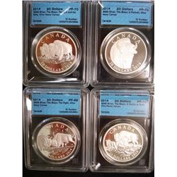 20 dollars 2014 Bison series Proof coins; The Bull and his Mate, A Family at Rest, The Fight & A Por