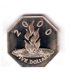 Barbados: 5 dollars 2000, Millenium, KM # 67. Proof coin containing 0.8357 oz ASW.