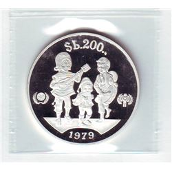 Bolivia: 200 pesos 1979, International Year of the Child, KM # 198. Proof coin containing 0.6894 oz