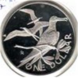British Virgin Islands: 1 dollar 1977, Queen's Silver Jubilee, KM # 14. Proof coin containing 0.7594