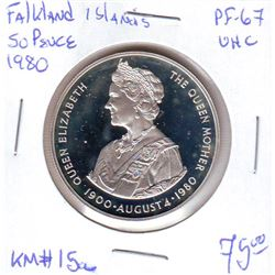 Falkland Islands: 50 pence 1980,Queen Mother's 80th Birthday, KM # 15a. Proof coin containing 0.8356