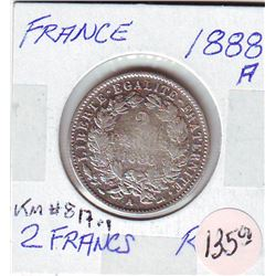 France: 2 francs 1888A, KM # 817.1. VF/EF coin containing 0.2684 oz ASW.