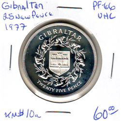 Gibraltar: 25 new pence 1977, Queen's Silver Jubilee, KM # 10a. Proof coin containing 0.8356 oz ASW.