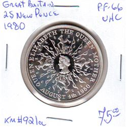 Great Britain: 25 new pence 1980, Queen Mother's 80th Birthday, KM # 921a. Proof coin containing 0.8