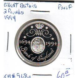 Great Britain: 2 pounds 1994, Bank of England, KM # 968a. Proof coin containing 0.4722 oz ASW.