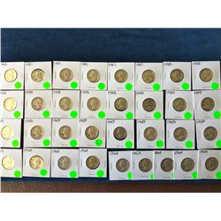 USA: Dealers overstock of .900 USA silver 25 cents. 5.967 oz ASW. Lot of 33 coins.