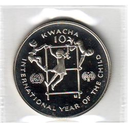 Zambia: 10 kwacha 1980, International Year of the Child, KM # 21. Proof coin containing 0.8043 oz AS