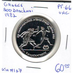 Greece: 500 drachmes 1982, Pan-Europeen Games, Ancient Olympic Relay Race, KM #127. Proof coin conta