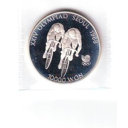 Korea-South: 10000 won 1988, Olympics, Cycling, KM # 76. Proof coin containing 0.9934 oz ASW.