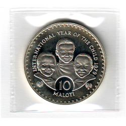 Lesotho: 10 maloti 1979 (1981), International Year of the Child, KM # 24. Proof coin containing 0.84