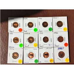 Canada Proof cents: 1988, 1989, 1990, 1991, 1992, 1994, 1998, 1999. SPECIMEN: 1997, 2005, 2007. Lot