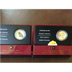 50 cents silver Butterfly collection: 2005 fritillary and 2006 swallowtail. Lot of two coins.