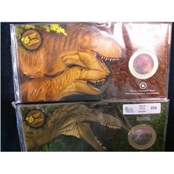 50 cents 2010 set of two Dinosaur exibit coins.