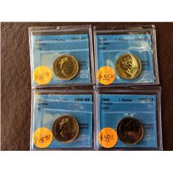 Canada loonies: 1988 CCCS UNC-67, 1992 CCCS UNC-67, 1993 CCCS UNC-66, 1999 CCCS UNC-67. Lot of 4 coi