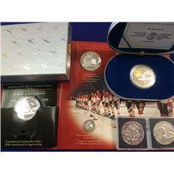 Lot of proof silver coins, 1$ 1994 - 1996 - 1997 - 1999 & 20$ 1994. plus sterling pin. 4.oz ASW.
