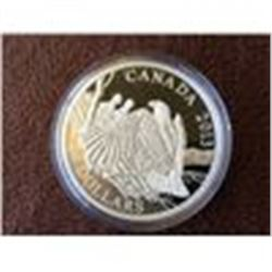 20 dollars 2013 fine silver coin: The bald eagle, mother protecting her Eaglets.