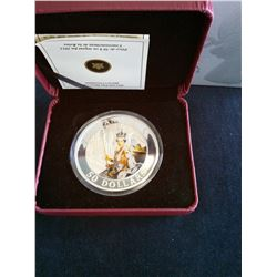 50 dollars 2013, Queen's Coronation, Proof Coloured in case with sleeve and COA.