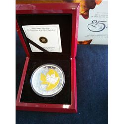 50 dollars 2013, 25th Anniversary of the Silver Maple Leaf, Selectively gold Plated, in case with bo