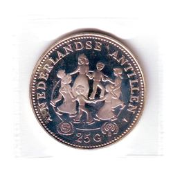 Netherlands Antilles: 25 gulden 1979 (u), International Year of the Child, KM # 22. Proof coin conta