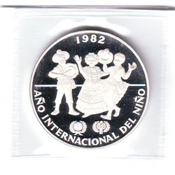 Panama: 10 balboas 1982, International Year of the Child, KM # 79. Proof coin containing 0.4233 oz A