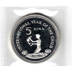 Papua New Guinea: 5 kina 1981, International Year of the Child, KM # 18. Proof coin containing 0.451