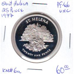 Saint-Helena: 25 pence 1977, Queen's Silver Jubilee, KM # 6a. Proof coin containing 0.8356 oz ASW.