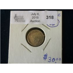 5 cents 1881H in F-12.