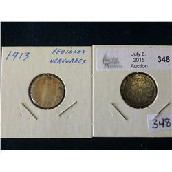 10 cents 1913 Small Leaves VG-8 and Broad Leaves G-4. Lot of 2 coins.